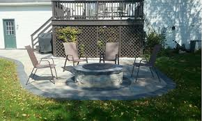custom paver patio with a fire pit landscaping in horseheads ny