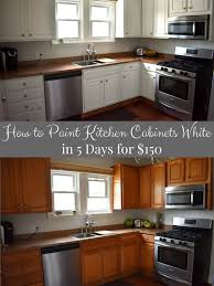 painting kitchen cabinets from wood to white how to paint kitchen cabinets white in 5 days for 150 the