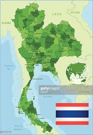 map of thailand green map of thailand states cities and flag vector getty images