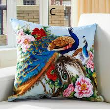 Decorative Pillow Sale Chinoiserie Peacock Sofa Cushions 3d Animal Decorative Pillows For