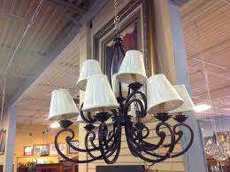 Chandelier With Black Shades 9 Arm Black Wrought Iron Chandelier With Shades Consignment
