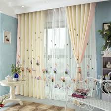 modren flowers cotton embroidered curtains for baby u0027s living room