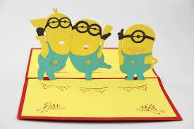 minions 3 dimensional greeting card totoro minions hello