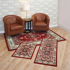 southwest area rugs capri 3 piece rug set savonnerie red walmart com