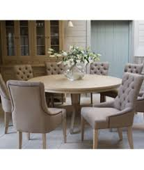 henley 150cm round pedestal table and 6 henley linen dining chairs