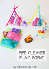 pipe cleaner crafts a camping play scene for toys