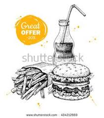 take away food sketches black and white vector sketch