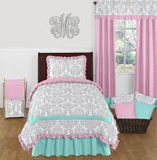 pink gray and turquoise skylar 4pc twin girls bedding set by