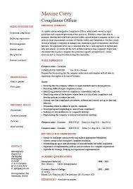 Objectives Example In Resume by Compliance Officer Resume Objective Sample Example Regulations