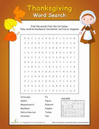thanksgiving word search worksheet education