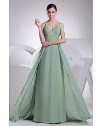 sage green v neck beaded straps floor length chiffon prom dress