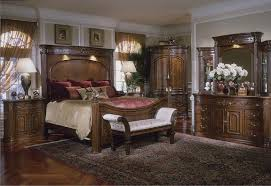 Michael Amini Bedding Clearance Furniture Charming Wooden Bed With Tall Headboard In Brown By