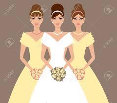 koszor sl ny ruha vektoros illusztráció egy gyönyörű menyasszony és két koszorúslány