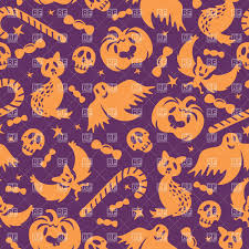 halloween seamless wallpaper with simple style ghost pumpkin cat