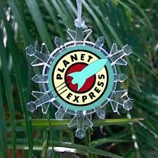 futurama planet express snowflake holiday christmas tree ornament