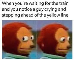Guy Crying Meme - when you re waiting for the train and you notice a guy crying and