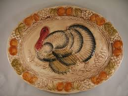 ceramic turkey platter vintage ceramic painted figural turkey platter japan made