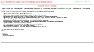 clinic data entry clerk work experience certificate