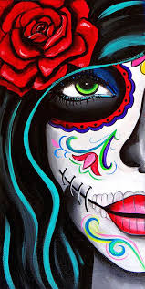 Where To Buy Candy Eyes Green Eyes By Melody Smith Mexican Sugar Skull Woman Canvas Art