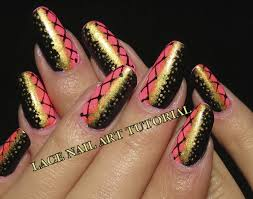 pink black gold lace video nail art tutorial youtube