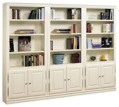White Wood Bookcases Hampton Tall 3 Pc Bookcase Wall W Doors In Pearl White Finish