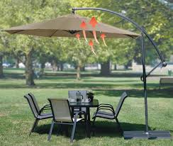 Patio Umbrella And Stand by Furniture Tan Cantilever Patio Umbrella With Black Metal Stand