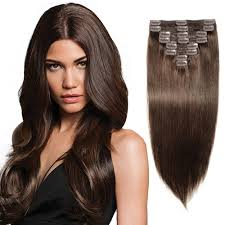 22 inch hair extensions 8 pcs weft clip in remy hair extensions 2 brown