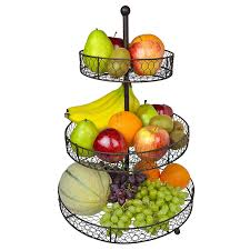 fruit baskets 3 tier country rustic chicken wire style metal fruit