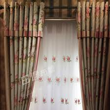 rustic floral green linen cotton shabby chic curtains