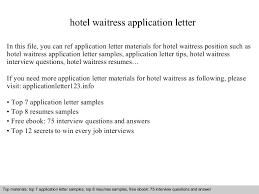 Server Resume Skills Examples Free by Hotel Waitress Application Letterwaitress Resumes Waitress Job
