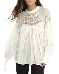 great deals on free people ivory have it my way embroidered top