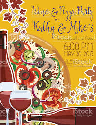 wine and pizza party invitation template stock vector art