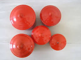 Orange Kitchen Canisters by Vintage French Red Enamel Set Of 5 Kitchen Canisters C1950