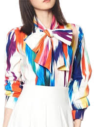 scarf blouse gracia multicolor t19913 rainbow scarf shirt blouse size 6 s