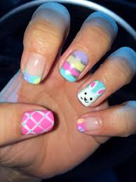 easter gel nail easter bunny easter eggs cute pink and blue gel