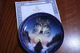 franklin mint the lone wolf plate indian leckie 28045318
