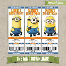 me minions birthday ticket invitations instant download edit