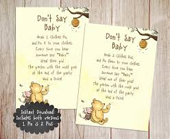 winnie the pooh baby shower don t say baby baby shower printable winnie the pooh baby