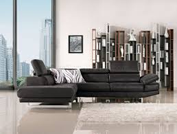 Modern Fabric Sectional Sofa Black Fabric Modern Sectional Sofa W Adjustable Headrest
