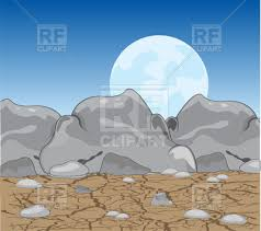 stone desert stone desert with moon in the night royalty free vector clip art