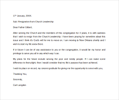 resignation letter pastor resignation letter from church