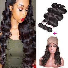 sew in with lace closure 3 bundles 360 lace closure wave hair