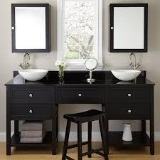 bathroom sirius double sink vanity with black cabinets over toilet