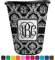 monogrammed damask waste basket personalized potty training