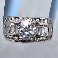 ss wedding ring 5 2ct stacked russian diamond cz wedding ring set 925