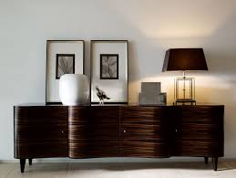 Contemporary Italian Dining Table Nella Vetrina Wave Ebony Makassar Modern Italian Wood Credenza