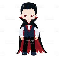 funny cartoon little vampire boy wearing halloween costume vector