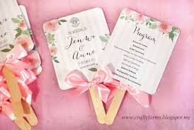 wedding ceremony program fans wedding card malaysia crafty farms handmade watercolour flower