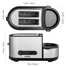 Toaster With Egg Maker Aicok Toaster And Egg Cooker 2 Slice Toaster With Extra Wide