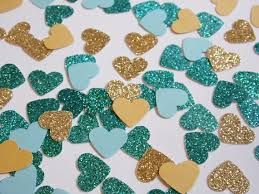 teal wedding decorations gold and teal glitter heart confetti wedding reception decoration